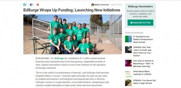 Image for HEDLINE: EdSurge raises $1.5 million Series A