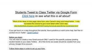 Image for How To: Students Tweet to Class Twitter via Google Form