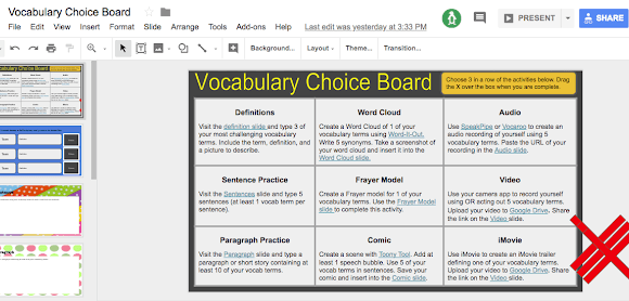 Vocabulary Choice Board with Google Slides! - e-Learning Feeds